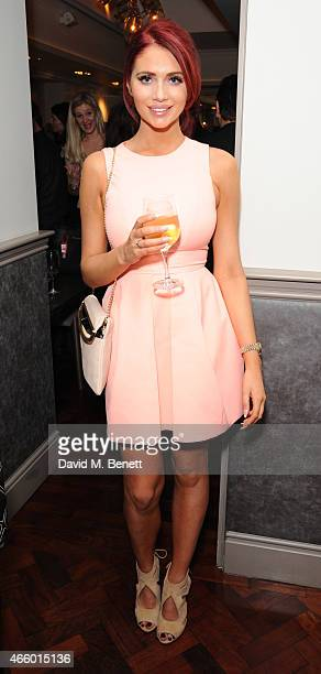Amy Childs attends the launch of new book 'My Fight To The Top' by Ultimo founder Michelle Mone at Salmontini on March 12 2015 in London England