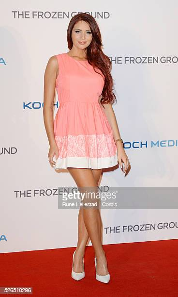Amy Childs attends the premiere of The Frozen Ground at Vue Leicester Square
