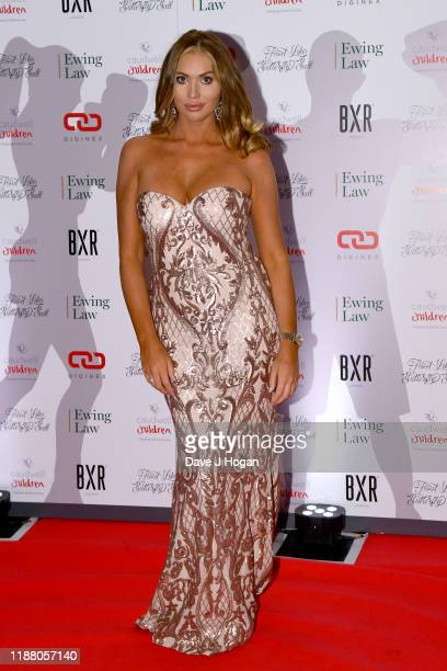 Amy Childs during the Float Like A Butterfly Ball for Caudwell Children VIP drinks reception at The Grosvenor House Hotel on November 16 2019 in...