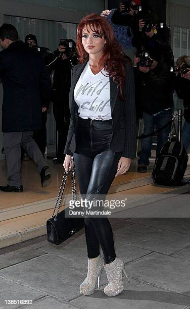 Amy Childs is seen attending the Kandee Shoes 2012 collection launch at the Sanderson Hotel on February 8 2012 in London England