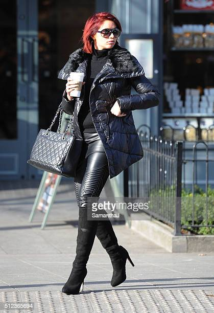 Amy Childs is seen leaving her local hairdressers on February 24 2016 in ESSEX England