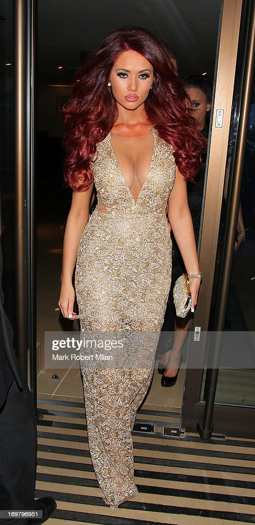 Amy Childs leaving the May Fair hotel on June 1, 2013 in London, England.