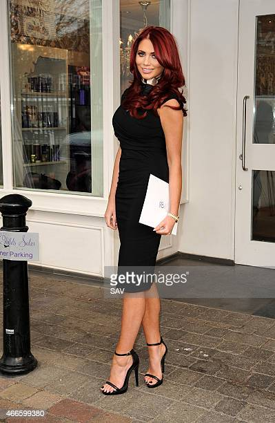 Amy Childs promotes her new 3D Liposuction at her salon in Essex on March 17 2015 in London England