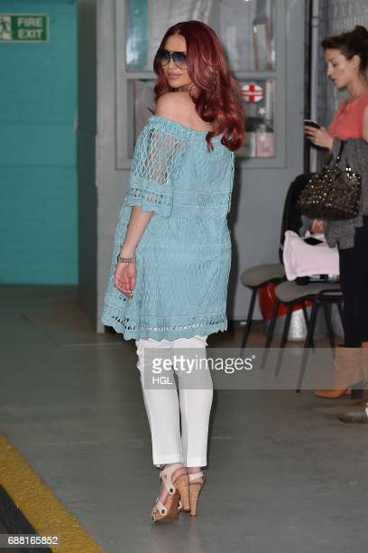 Amy Childs seen carrying her new baby Polly at the ITV Studios on May 25 2017 in London England