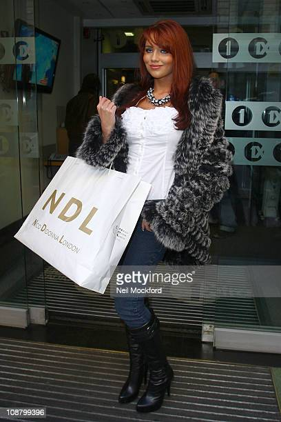Amy Childs sighted arriving at BBC Radio One on February 3 2011 in London England