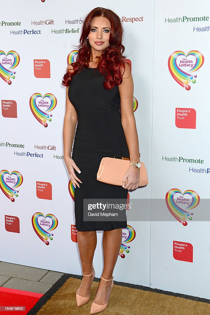 Amy Childs sighted arriving for The Health Lottery Fundraising Event outside Claridges Hotel on March 28, 2013 in London, England.