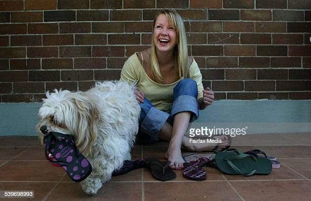 Amy Cloran at her home in Marrickville. Amy owns over nine pairs of thongs, Picture taken for a story on the problems of wearing thongs, 11 September...