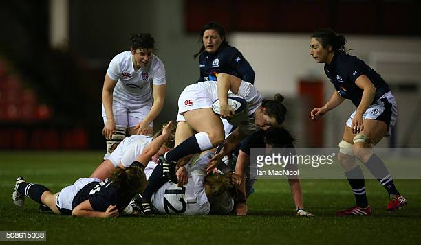 Amy Cokayne of England drives forward with the ball during the Scotland Women and England Women Six Nations Championship match at Broadwood Stadium...