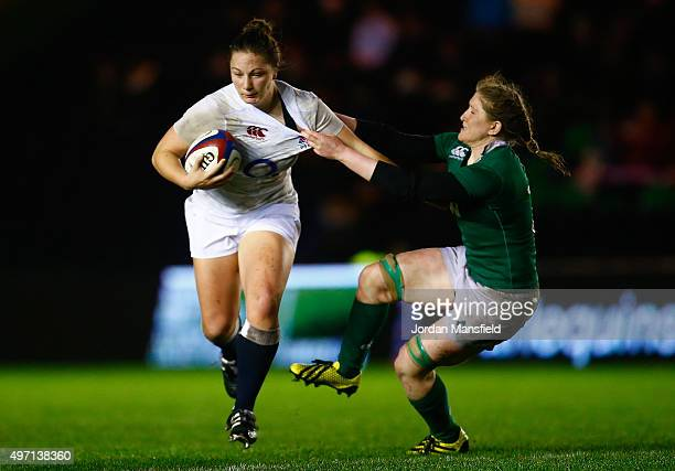 Amy Cokayne of England is tackled by Heather O'Brien of Ireland during the Women's International match between England v Ireland at Twickenham Stoop...
