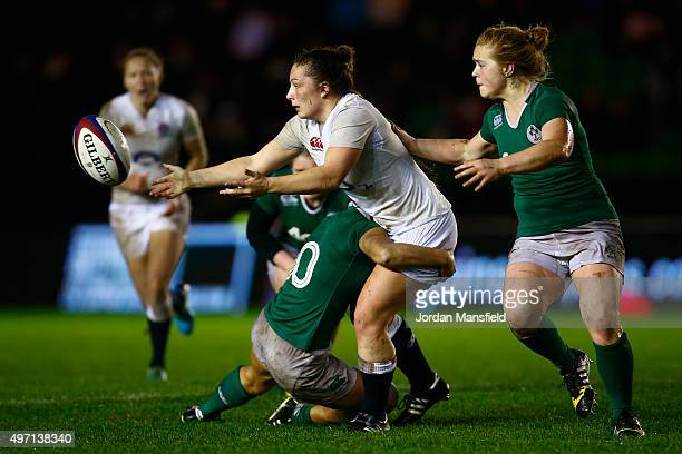 Amy Cokayne of England is tackled by Sene Naoupu of Ireland during the Women's International match between England v Ireland at Twickenham Stoop on...