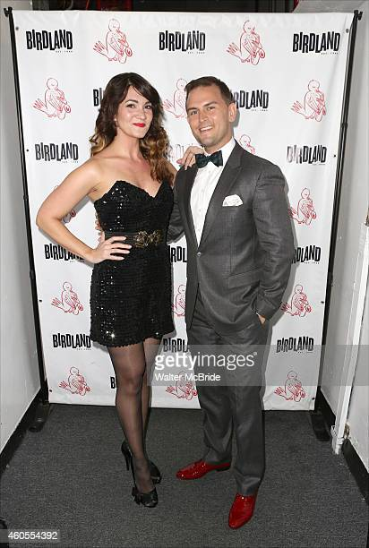Amy Connolly and Daniel Reichard backstage before 'Daniel Reichard's Decked Out Holiday Party' at Birdland on December 15 2014 in New York City