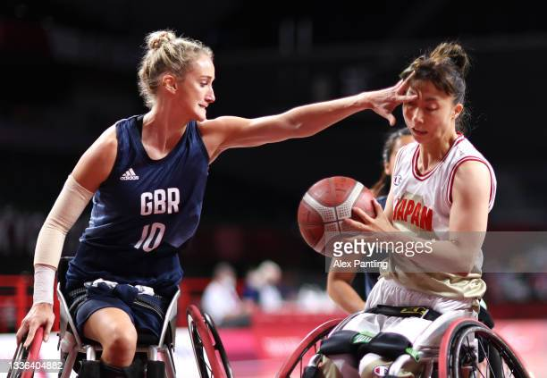 Amy Conroy of Team Great Britain fouls Mari Amimoto of Team Japan during the Wheelchair Basketball Women's preliminary round group A match between...