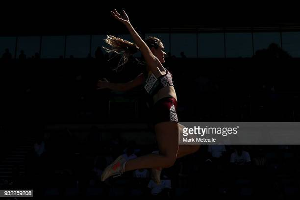 Amy Coulston of QLD competes in the Women's Under 20 Long Jump during day two of the Australian Junior Athletics Championships at Sydney Olympic...