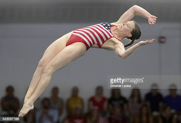 Amy Cozad competes in the Women's 10m Platform final during day 8 of the 2016 US Olympic Team Trials for diving at Indiana University Natatorium on...