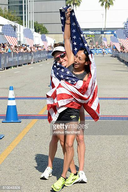 Amy Cragg and Desiree Linden after finishing first and second in the US Olympic Team Trials Womens Marathon on February 13 2016 in Los Angeles...