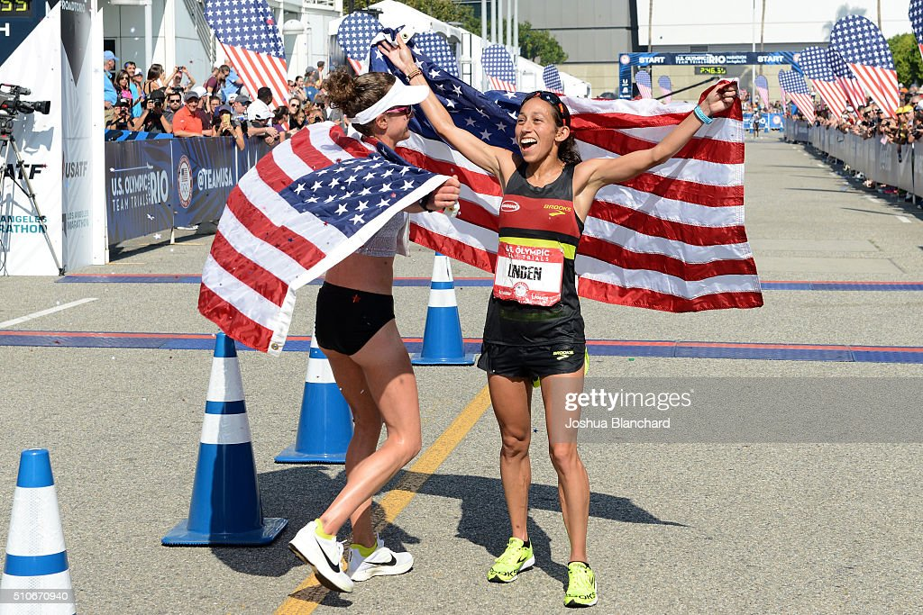 Amy Cragg (L) and Desiree Linden at the U.S. Olympic Team Trials Womens Marathon on February 13, 2016 in Los Angeles, California.