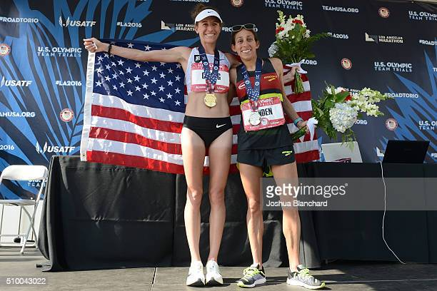 Amy Cragg and Desiree Linden celebrate after finishing first and second in the US Olympic Team Trials Womens Marathon on February 13 2016 in Los...