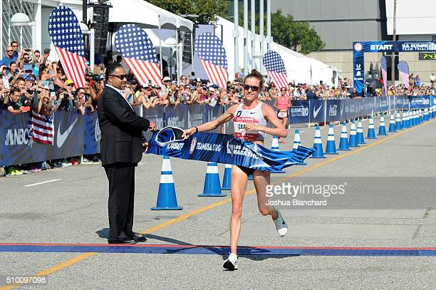Amy Cragg finishes first at the US Olympic Team Trials Womans Marathon on February 13 2016 in Los Angeles California