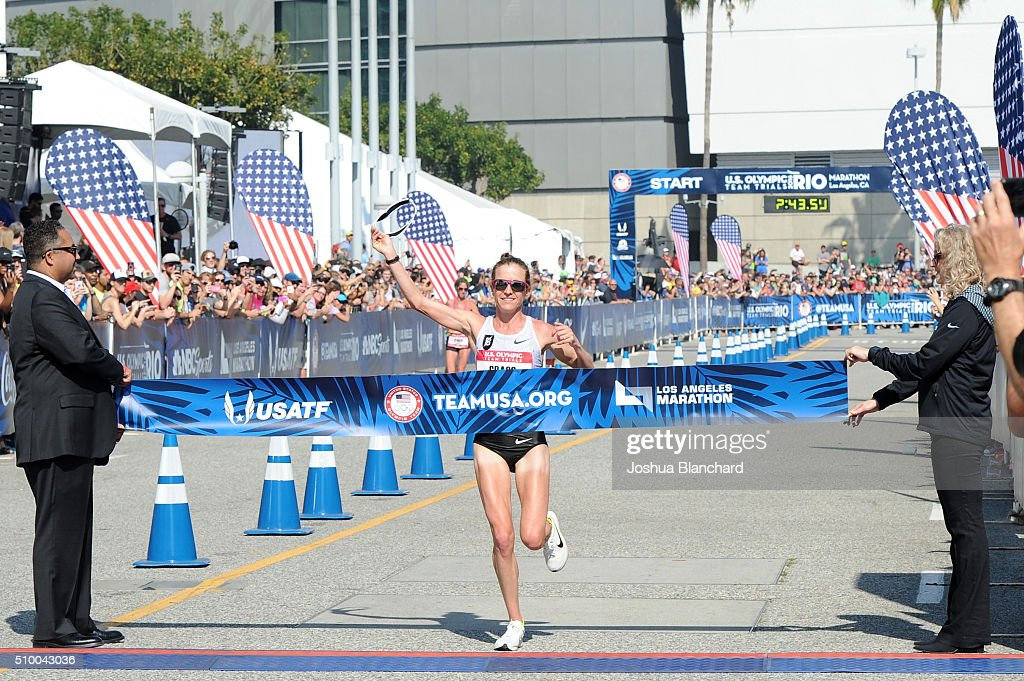 Amy Cragg finishes in first place at U.S. Olympic Team Trials Womens Marathon on February 13, 2016 in Los Angeles, California.