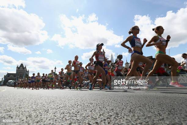 Amy Cragg of the United States competes in the Women's Marathon during day three of the 16th IAAF World Athletics Championships London 2017 at The...