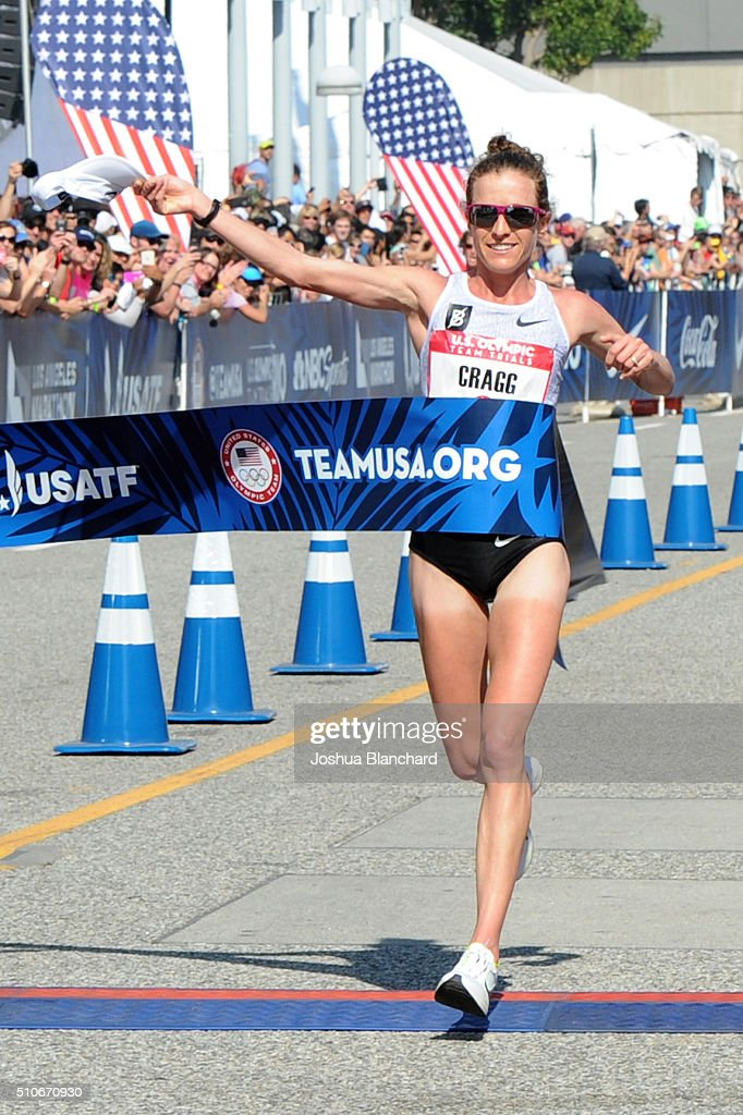 Amy Cragg wins the U.S. Olympic Team Trials Womens Marathon and qualifies for the U.S. Olympic Team on February 13, 2016 in Los Angeles, California.