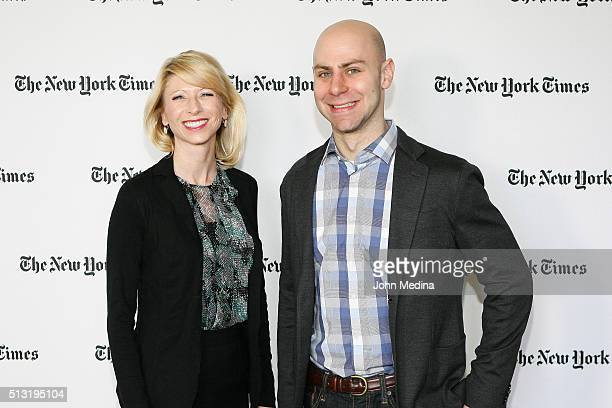 Amy Cuddy Harvard Business School social psychologist and behaviorist and Adam Grant PhD Wharton School of Business professor attend The New York...