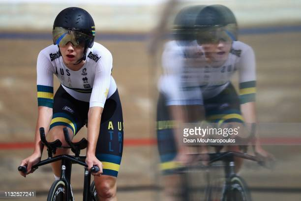 Amy Cure of Australia competes in the women's pursuit qualifying on day one of the UCI Track Cycling World Championships held in the BGZ BNP Paribas...