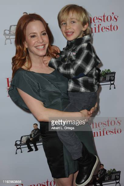 Amy Davidson and son arrive for the Premiere Of Ernesto Manifesto held at TCL Chinese 6 Theatres on January 9 2020 in Hollywood California