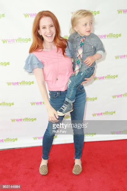 Amy Davidson and son attend the WeVillage 1 Year Anniversary Party at WeVillage on April 29 2018 in Los Angeles California