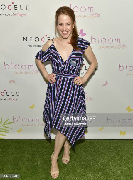 Amy Davidson arrives at the Inaugural Celebrity Bloom Summit at The Beverly Hilton Hotel on June 2 2018 in Beverly Hills California