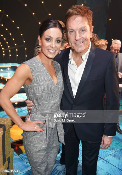 Amy Dowden and Brian Conley pose backstage following the cast change press night performance of 'Annie' at The Piccadilly Theatre on October 2 2017...