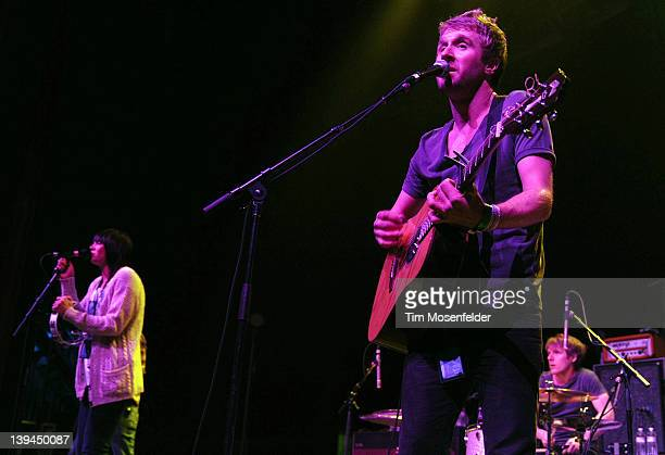 Amy Driver and Danny Bemrose of Scars on 45 perform in support of the bands' Heart on Fire EP release at the Fox Theater on February 20 2012 in...
