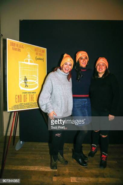 Amy Emmerich Jessica Sanders and Shannon Gibson pose for a photo at the Refinery29 and TNT Shatterbox Anthology Season 2 Sundance Premiere Party at...