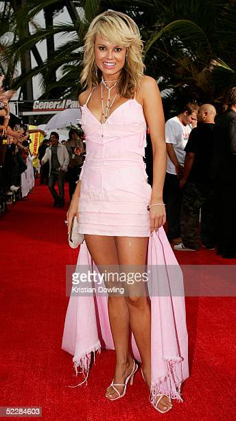 Amy Erbacher arrives at the inaugural MTV Australia Video Music Awards at Luna Park on March 3 2005 in Sydney Australia