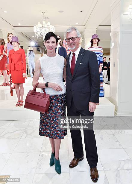 Amy Fine Collins and Claudio del Vecchio attend the Brooks Brothers SS 2016 Presentation With Zac Posen on September 12 2015 in New York City