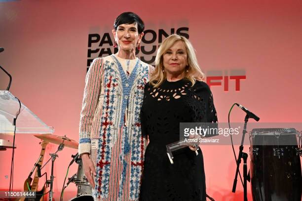 Amy Fine Collins and Julie Wainwright pose onstage during the 71st Annual Parsons Benefit honoring Pharrell, Everlane, StitchFix & The RealReal on...