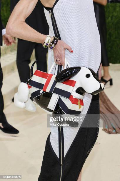 Amy Fine Collins, dog handbag detail, attends The 2021 Met Gala Celebrating In America: A Lexicon Of Fashion at Metropolitan Museum of Art on...