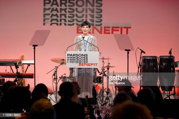 Amy Fine Collins speaks onstage during the 71st Annual Parsons Benefit honoring Pharrell, Everlane, StitchFix & The RealReal on May 20, 2019 in New...