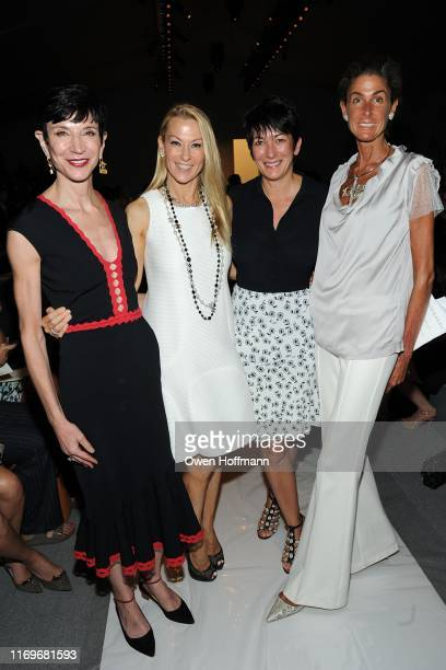 Amy Fine Collins Suzanne Johnson Ghislaine Maxwell Somers Farkas attend DENNIS BASSO Spring 2014 Fashion Show at The Stage at Lincoln Center on...
