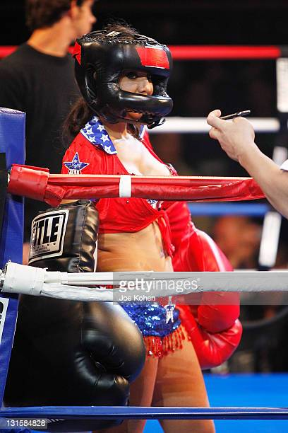 Amy Fisher rest in her corner during Celebrity Fight Night At The Avalon on November 5 2011 in Hollywood California