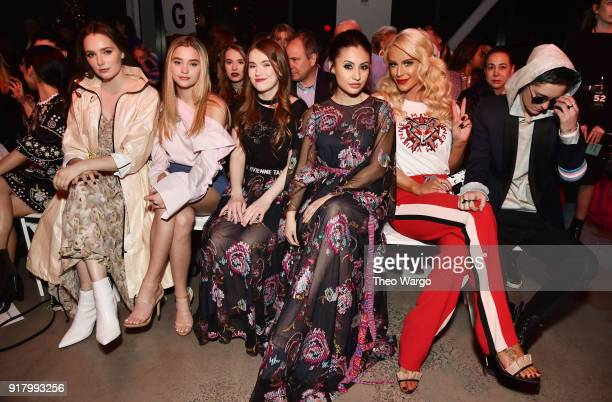 Amy Forsyth Lizzy Green Ashley Gerasimovich Francia Raisa Gigi Gorgeous and Nats Getty attend the Vivienne Tam front row during New York Fashion Week...