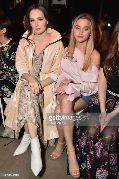 Amy Forsyth Lizzy Greene attends the Vivienne Tam front row during New York Fashion Week The Shows at Gallery I at Spring Studios on February 13 2018...