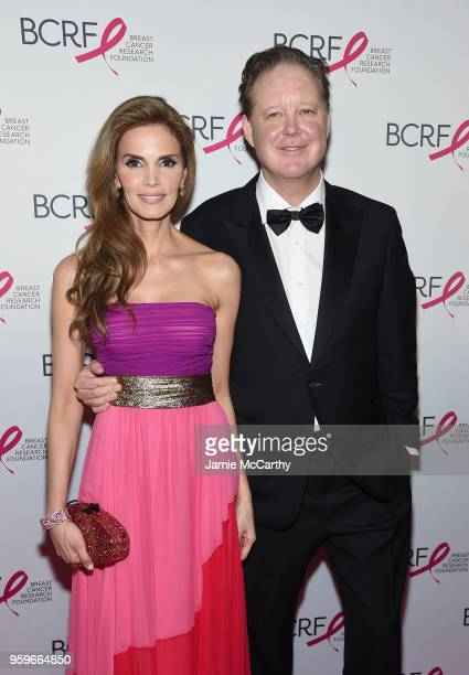 Amy France and Brian France attend the Breast Cancer Research Foundation Hot Pink Gala hosted by Elizabeth Hurley at Park Avenue Armory on May 17...