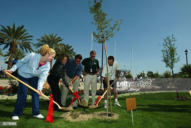 Amy Frazier Indian Wells Mayor Mary Roche Pacific Life Open tournament Director Charlie Pasarell American Forests Chairman Kevin Daugherty and Rick...
