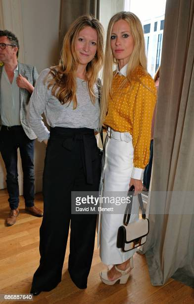 Amy Gadney and Laura Bailey attend the launch of Bella Pollen's memoirsponsored by PerrierJouet champagne on May 22 2017 in London England