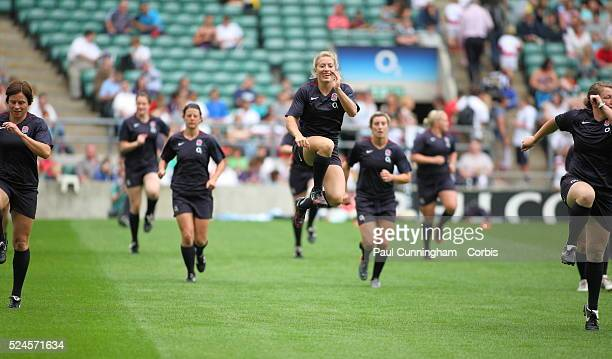 Amy Garnett Sarah Hunter Alice Richardson Claire Purdy Amy Turner Fiona Pocock The Women's England Rugby Team holding the third annual summer open...