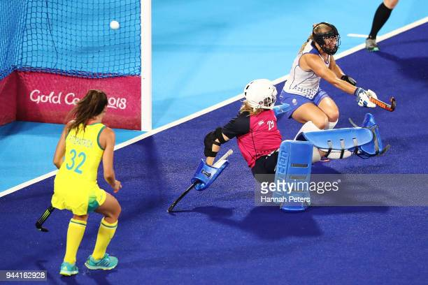 Amy Gibson of Scotland lets a goal in from Jodie Kenny of Australia on day six of the Gold Coast 2018 Commonwealth Games at Gold Coast Hockey Centre...