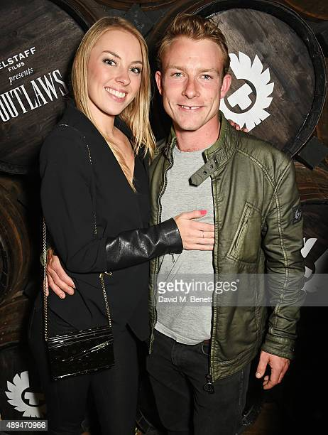 Amy Gilmour and Tom Hunt attend an after party celebrating the premiere of Belstaff Films' Outlaws during London Fashion Week at La Bodega Negra on...