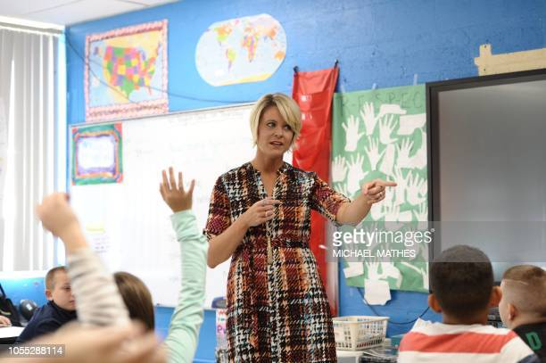 Amy Grady, who is running as an independent for a seat in the West Virginia state Senate, teaches in her classroom at Leon Elementary October 18,...