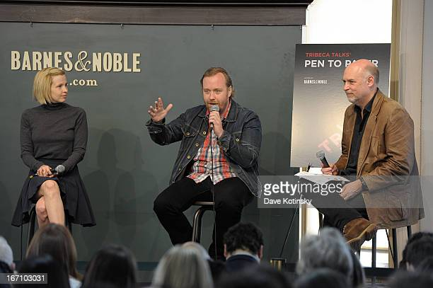 Amy Grantham Tom Berninger and Mark Adams attend Tribeca Talks Pen to Paper Putting The 'I' In 'Film' during the 2013 Tribeca Film Festival on April...
